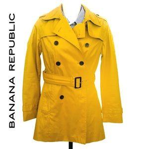 Banana Republic Mustard Trench Coat Sz XS